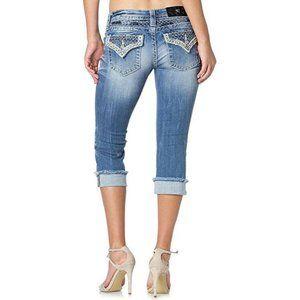 Miss Me Signature Cuffed Capri Embellished Jeans